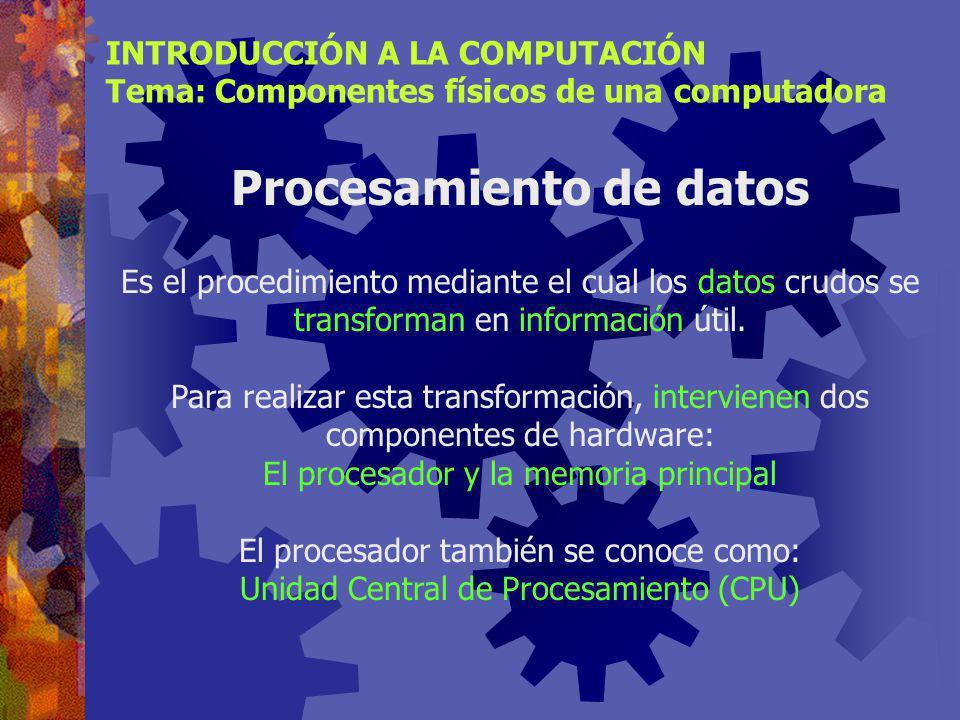 Memoria RAM INTRODUCCIÓN A LA COMPUTACIÓN Tema: Componentes físicos de una computadora Tecnologías de memoria RAM FPM DRAM (Fast page mode dynamic random access memory) 2% del mercado(28.5 MHz) EDO DRAM (Extended data-out dynamic random access memory) 3% del mercado(40 MHz) SDRAM (Synchronous dynamic random access memory) 86% del mercado en 2000, se estima el 50% en el 2003 (133 MHz) DDR SDRAM (Double-data-rate SDRAM) 41% del mercado en 2002, se estima 50% en el 2003(166 MHz) RDRAM (Rambus dynamic random access memory) Nicho en mercado de usuarios de alto nivel(1066 MHz)