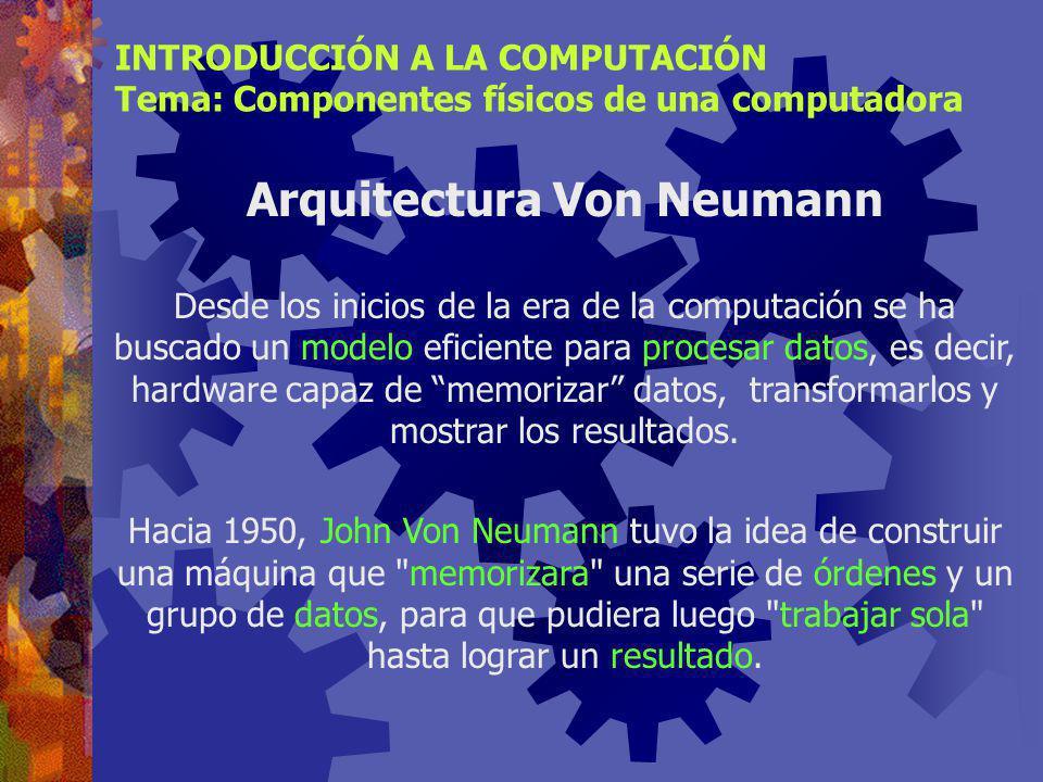INTRODUCCIÓN A LA COMPUTACIÓN Tema: Componentes físicos de una computadora Relación entre los elementos de Hardware Dispositivos de Entrada Dispositivos de Salida Almacenamiento Secundario Procesador (CPU) Memoria Principal Arquitectura Von Neumann