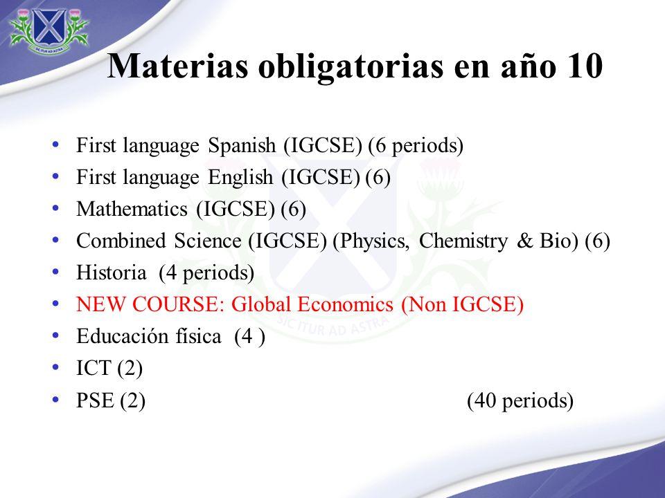 Opciones en año 10 Opción 1 (IGCSE) – 6 periods Coordinated science (Double award) History Geography Environmental management Opción 2 (non IGCSE) – 4 periods Arte French, Portuguese or Mandarin