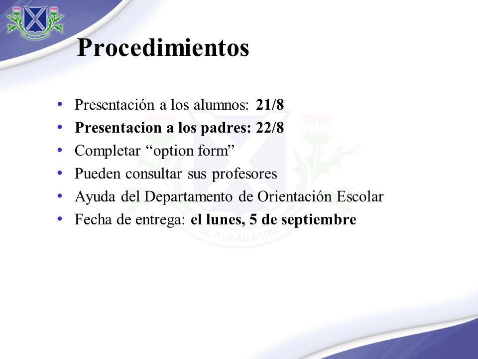 Procedimientos Presentación a los alumnos: 21/8 Presentacion a los padres: 22/8 Completar option form Pueden consultar sus profesores Ayuda del Depart