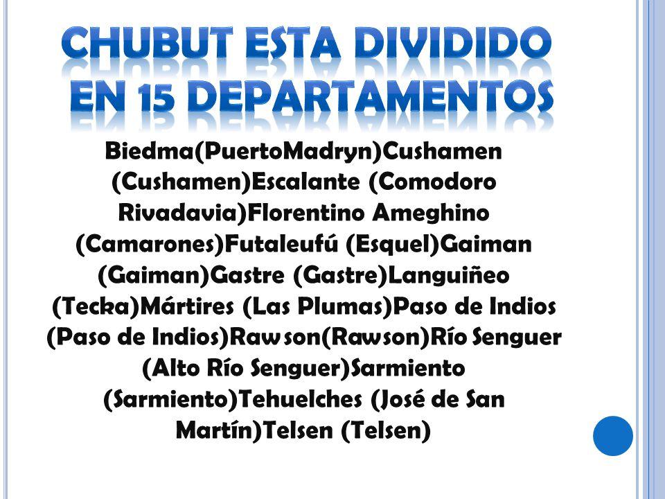 Biedma(PuertoMadryn)Cushamen (Cushamen)Escalante (Comodoro Rivadavia)Florentino Ameghino (Camarones)Futaleufú (Esquel)Gaiman (Gaiman)Gastre (Gastre)La