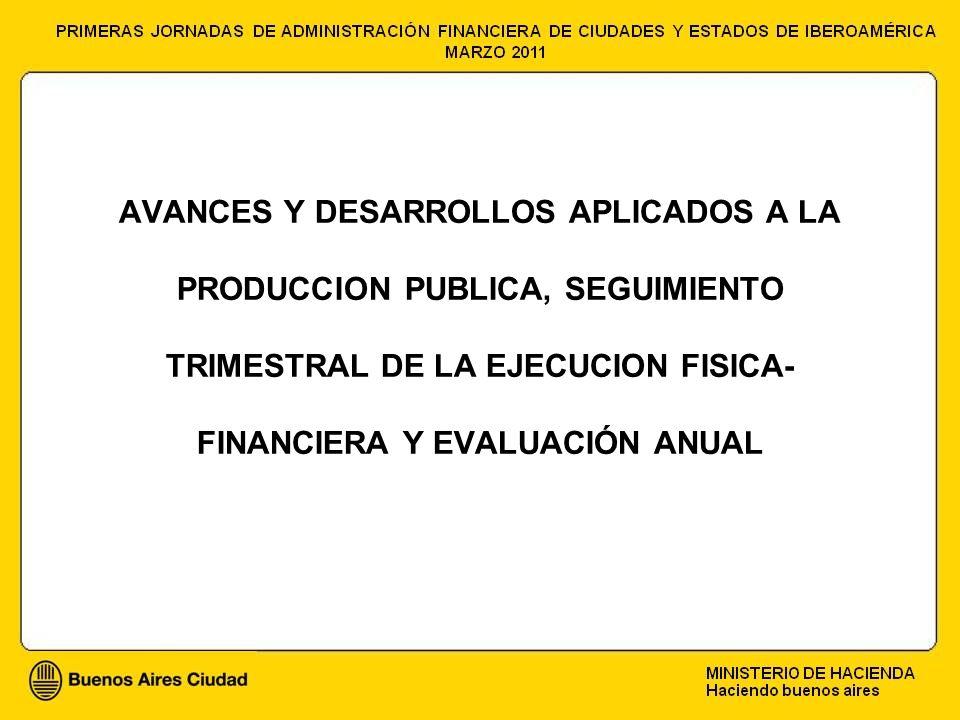 AVANCES Y DESARROLLOS APLICADOS A LA PRODUCCION PUBLICA, SEGUIMIENTO TRIMESTRAL DE LA EJECUCION FISICA- FINANCIERA Y EVALUACIÓN ANUAL