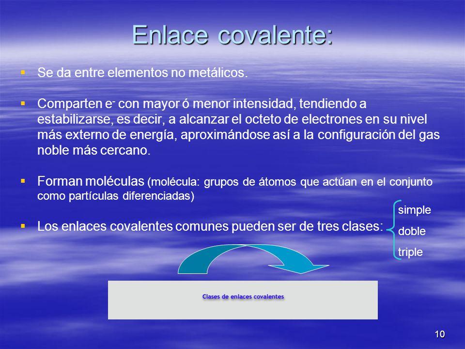 10 Enlace covalente: Se da entre elementos no metálicos. Comparten e - con mayor ó menor intensidad, tendiendo a estabilizarse, es decir, a alcanzar e