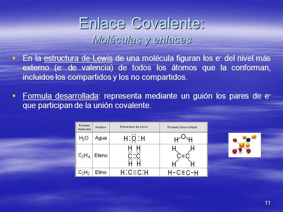 11 Enlace Covalente: Moléculas y enlaces En la estructura de Lewis de una molécula figuran los e - del nivel más externo (e - de valencia) de todos lo