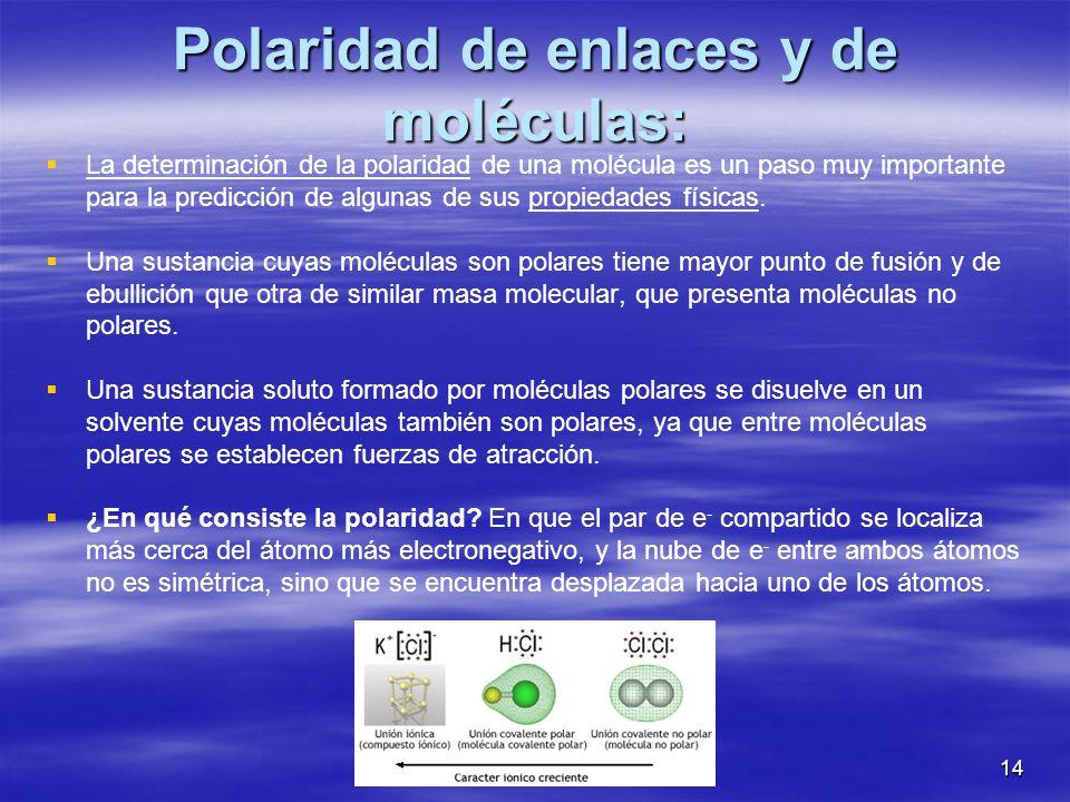14 Polaridad de enlaces y de moléculas: La determinación de la polaridad de una molécula es un paso muy importante para la predicción de algunas de su