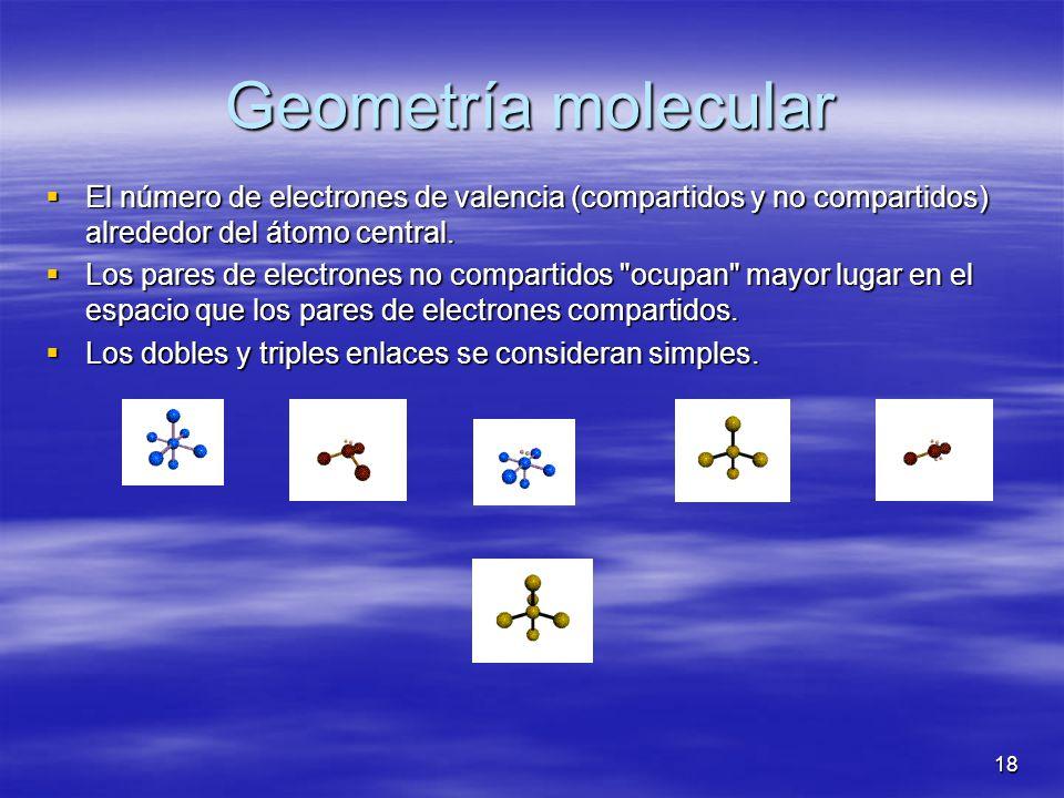18 Geometría molecular El número de electrones de valencia (compartidos y no compartidos) alrededor del átomo central. El número de electrones de vale