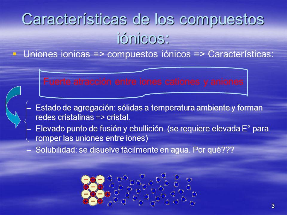 3 Características de los compuestos iónicos: Uniones ionicas => compuestos iónicos => Características: Fuerte atracción entre iones cationes y aniones