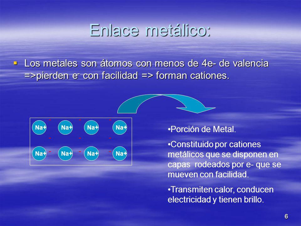 6 ------------------ Enlace metálico: Los metales son átomos con menos de 4e- de valencia =>pierden e - con facilidad => forman cationes. Los metales