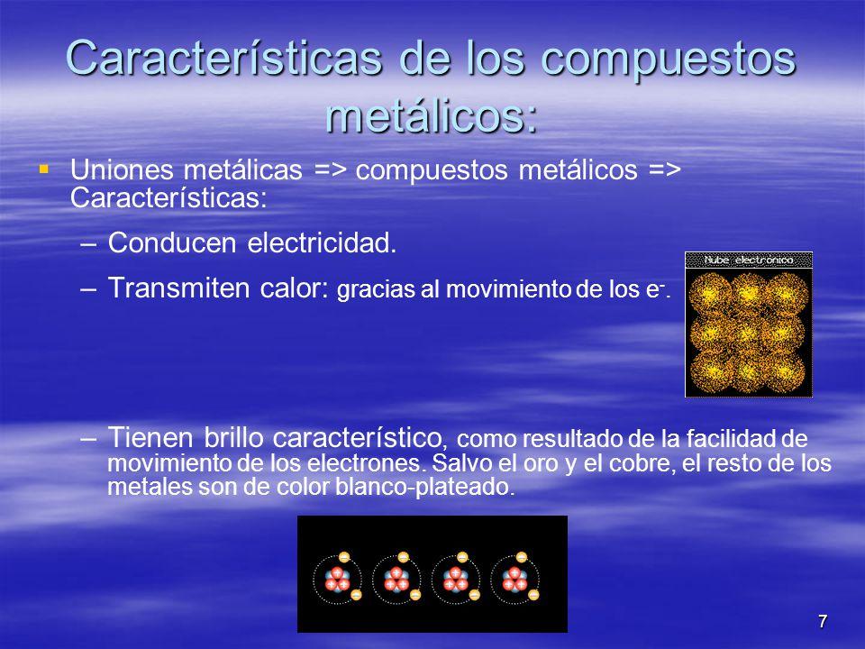 7 Características de los compuestos metálicos: Uniones metálicas => compuestos metálicos => Características: – –Conducen electricidad. – –Transmiten c