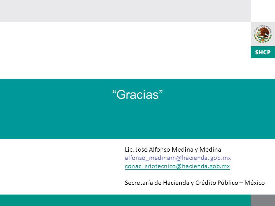 Gracias Lic. José Alfonso Medina y Medina alfonso_medinam@hacienda. gob.mx conac_sriotecnico@hacienda.gob.mx Secretaría de Hacienda y Crédito Público