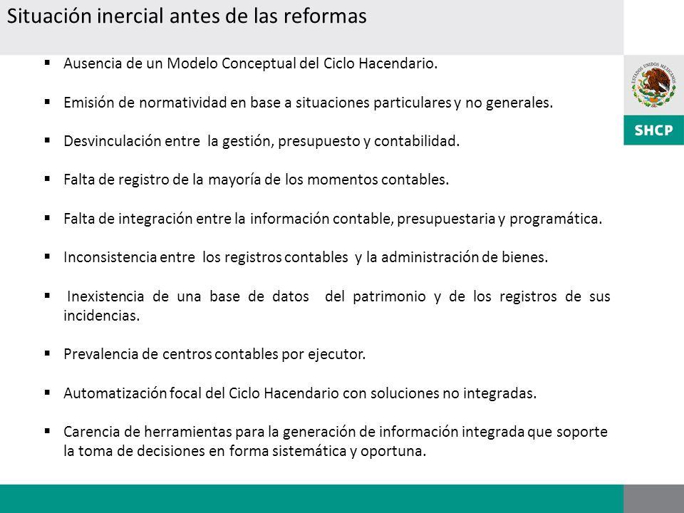 Ausencia de un Modelo Conceptual del Ciclo Hacendario. Emisión de normatividad en base a situaciones particulares y no generales. Desvinculación entre