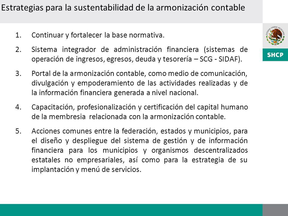1.Continuar y fortalecer la base normativa. 2.Sistema integrador de administración financiera (sistemas de operación de ingresos, egresos, deuda y tes