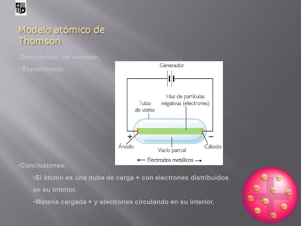 Descubridor del electrón. Experimento: Conclusiones: El átomo es una nube de carga + con electrones distribuidos en su interior. Materia cargada + y e