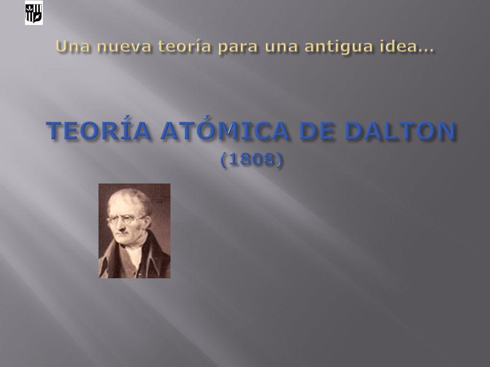 Hipótesis de Dalton (1) Los elementos están formados por partículas extremadamente pequeñas e indivisibles, llamadas átomos.