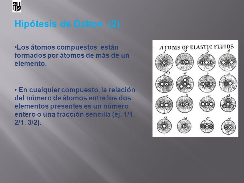 Hipótesis de Dalton (2) Los átomos compuestos están formados por átomos de más de un elemento. En cualquier compuesto, la relación del número de átomo