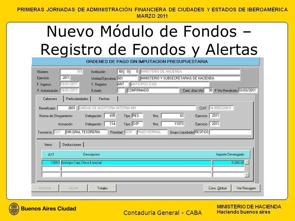 Contaduría General - CABA Nuevo Módulo de Fondos – Registro de Fondos y Alertas