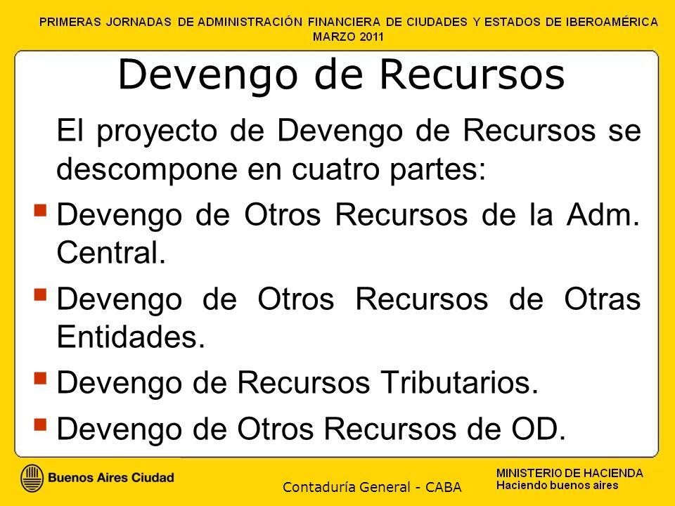 Contaduría General - CABA Devengo de Recursos El proyecto de Devengo de Recursos se descompone en cuatro partes: Devengo de Otros Recursos de la Adm.