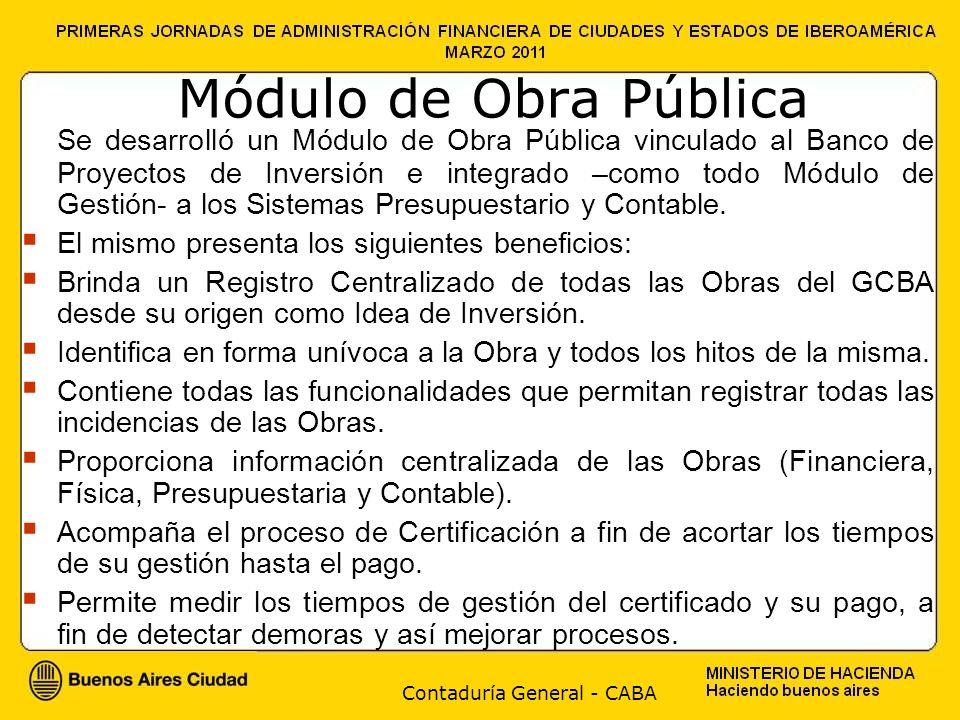 Módulo de Obra Pública Se desarrolló un Módulo de Obra Pública vinculado al Banco de Proyectos de Inversión e integrado –como todo Módulo de Gestión-