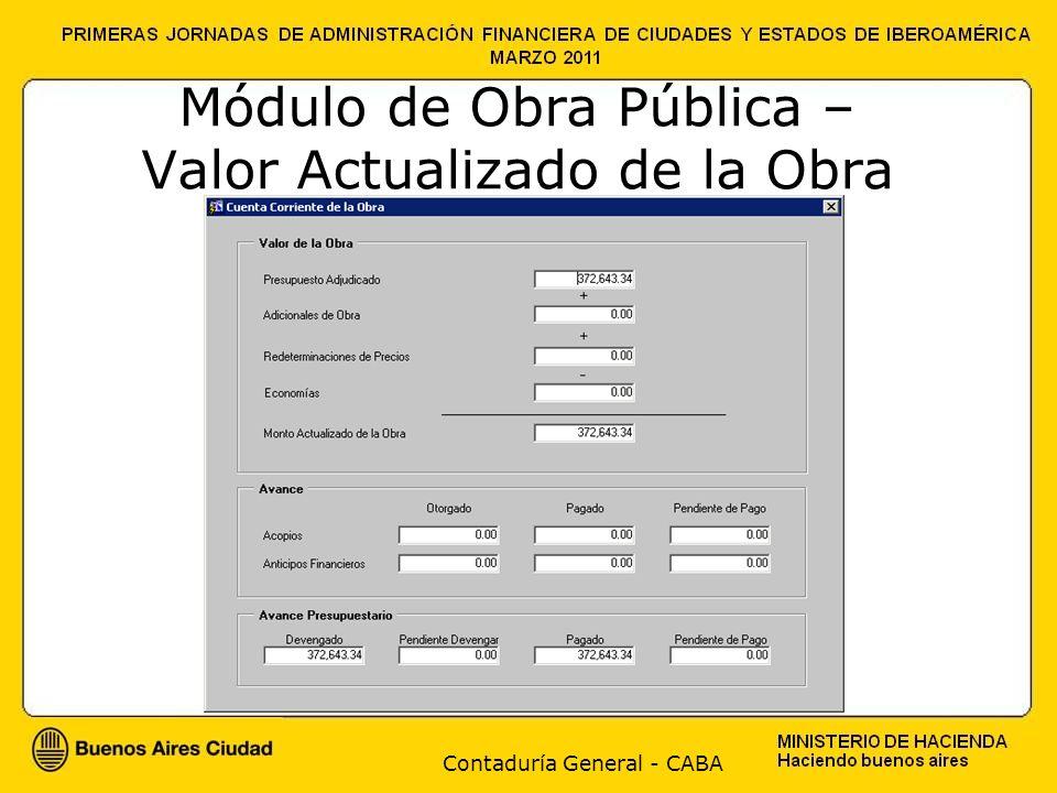 Contaduría General - CABA Módulo de Obra Pública – Valor Actualizado de la Obra
