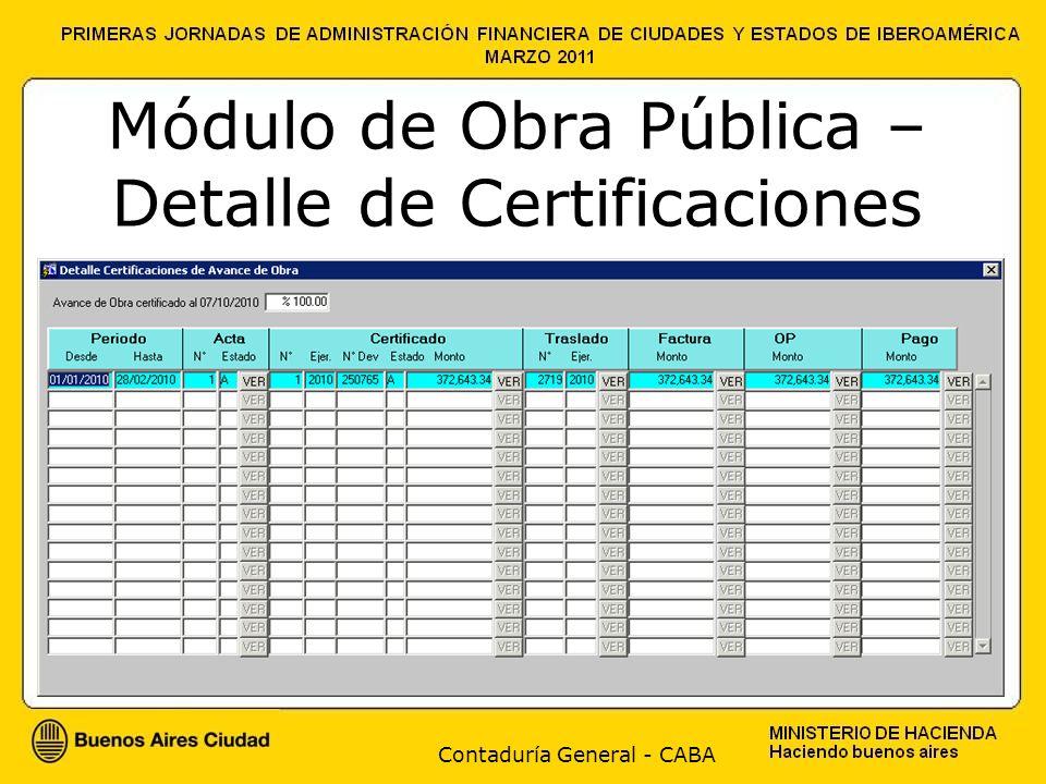 Contaduría General - CABA Módulo de Obra Pública – Detalle de Certificaciones