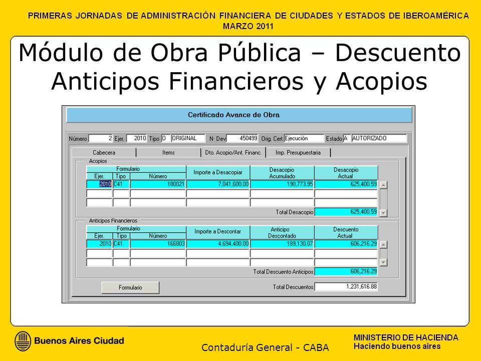 Contaduría General - CABA Módulo de Obra Pública – Descuento Anticipos Financieros y Acopios