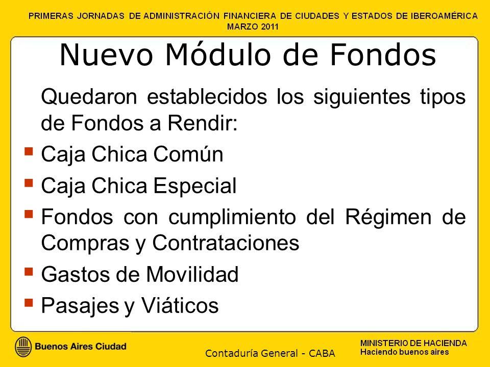 Contaduría General - CABA Nuevo Módulo de Fondos Quedaron establecidos los siguientes tipos de Fondos a Rendir: Caja Chica Común Caja Chica Especial F