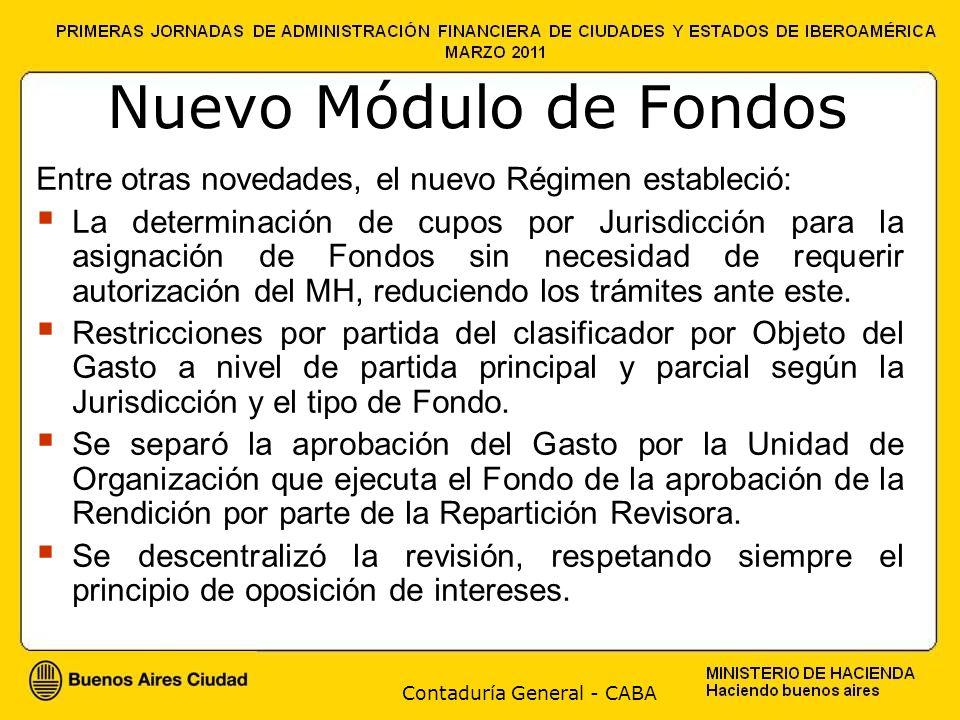 Contaduría General - CABA Nuevo Módulo de Fondos La modernización de las normas requirió entonces el desarrollo de un Módulo específico en el sistema SIGAF para gestionar y rendir dichos fondos.