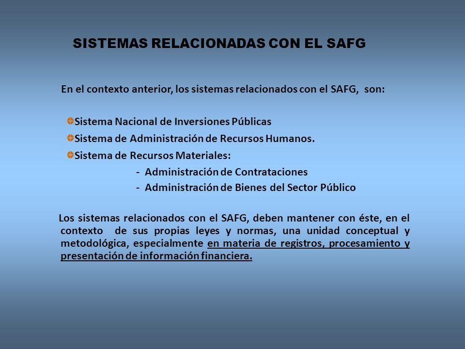 En el contexto anterior, los sistemas relacionados con el SAFG, son: Sistema Nacional de Inversiones Públicas Sistema de Administración de Recursos Hu