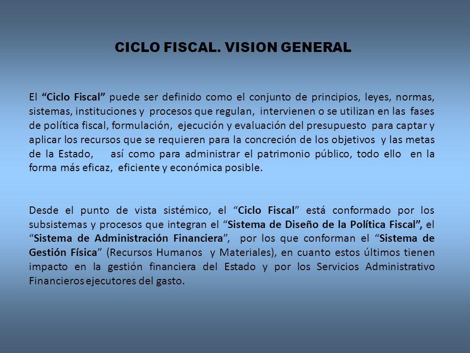 El Ciclo Fiscal puede ser definido como el conjunto de principios, leyes, normas, sistemas, instituciones y procesos que regulan, intervienen o se uti