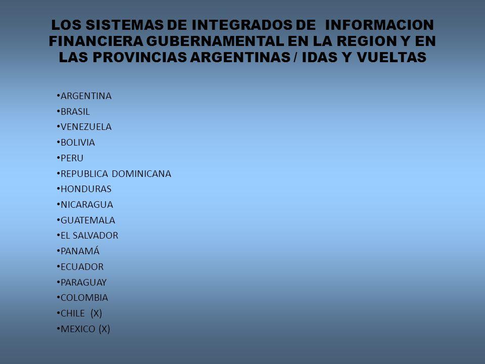 LOS SISTEMAS DE INTEGRADOS DE INFORMACION FINANCIERA GUBERNAMENTAL EN LA REGION Y EN LAS PROVINCIAS ARGENTINAS / IDAS Y VUELTAS ARGENTINA BRASIL VENEZ