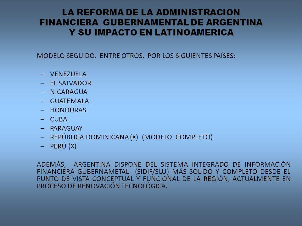 LA REFORMA DE LA ADMINISTRACION FINANCIERA GUBERNAMENTAL DE ARGENTINA Y SU IMPACTO EN LATINOAMERICA MODELO SEGUIDO, ENTRE OTROS, POR LOS SIGUIENTES PAÍSES: –VENEZUELA –EL SALVADOR –NICARAGUA –GUATEMALA –HONDURAS –CUBA –PARAGUAY –REPÚBLICA DOMINICANA (X) (MODELO COMPLETO) –PERÚ (X) ADEMÁS, ARGENTINA DISPONE DEL SISTEMA INTEGRADO DE INFORMACIÓN FINANCIERA GUBERNAMETAL (SIDIF/SLU) MÁS SOLIDO Y COMPLETO DESDE EL PUNTO DE VISTA CONCEPTUAL Y FUNCIONAL DE LA REGIÓN, ACTUALMENTE EN PROCESO DE RENOVACIÓN TECNOLÓGICA.