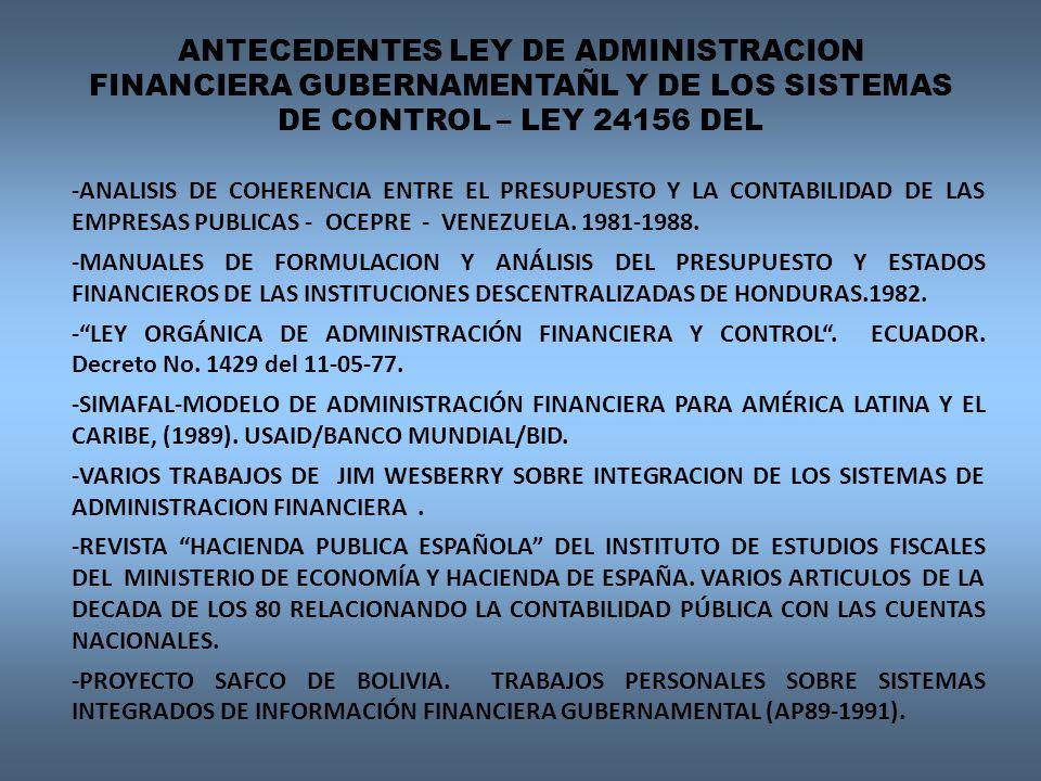 ANTEECEDENTES DE LOS SISTEMAS DE CONTROL EN EL MARCO DE LA LEY 24156 MODELOS NACIONALES DE CONTROL UTILIZADOS COMO REFERENCIA : CANADA NUEVA ZELANDA MÉXICO LEY DE ECUADOR 1977 CAMBIOS DE FONDO AL MODELO EXISTENTE: ARGENTINA Y LA LEY DE CONTABILIDAD – DECRETO LEY 23.354/56, PRECEDIDO POR LA LEY 428 DE 1870, y LA 12.961 DEL AÑO 1947.