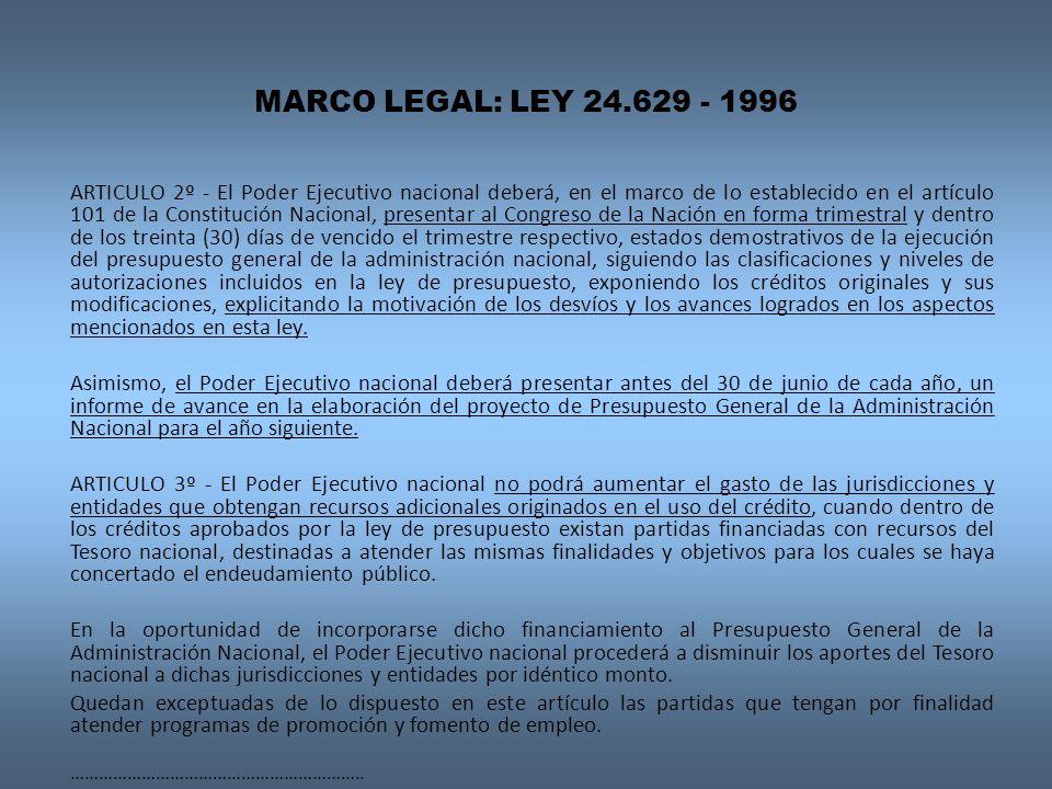 MARCO LEGAL: LEY 24.629 - 1996 ARTICULO 2º - El Poder Ejecutivo nacional deberá, en el marco de lo establecido en el artículo 101 de la Constitución N