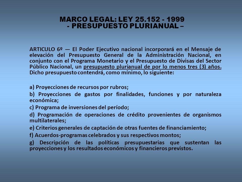 MARCO LEGAL: LEY 25.152 - 1999 - PRESUPUESTO PLURIANUAL – ARTICULO 6º El Poder Ejecutivo nacional incorporará en el Mensaje de elevación del Presupuesto General de la Administración Nacional, en conjunto con el Programa Monetario y el Presupuesto de Divisas del Sector Público Nacional, un presupuesto plurianual de por lo menos tres (3) años.