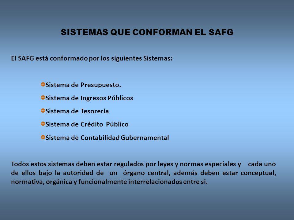 El SAFG está conformado por los siguientes Sistemas: Sistema de Presupuesto. Sistema de Ingresos Públicos Sistema de Tesorería Sistema de Crédito Públ