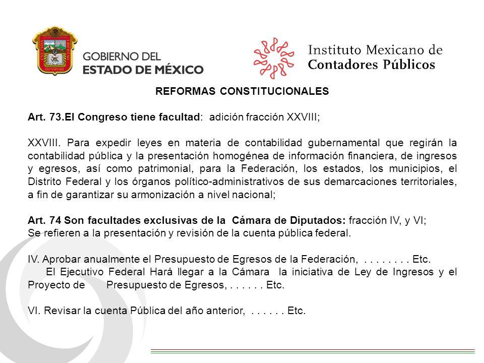 REFORMAS CONSTITUCIONALES Art.73.El Congreso tiene facultad: adición fracción XXVIII; XXVIII.