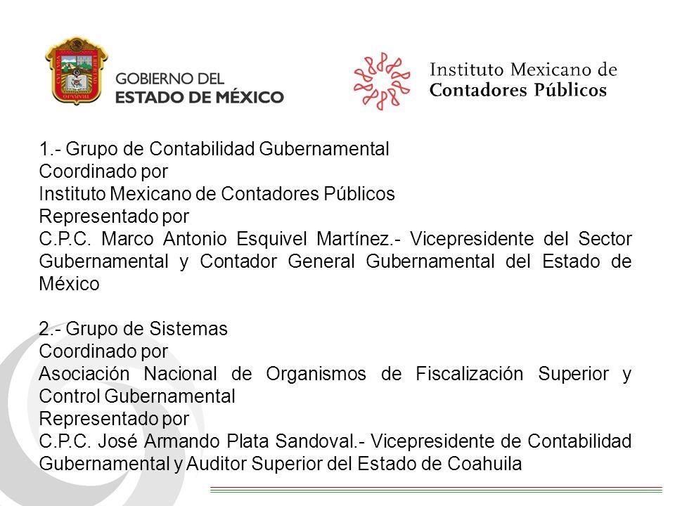 1.- Grupo de Contabilidad Gubernamental Coordinado por Instituto Mexicano de Contadores Públicos Representado por C.P.C. Marco Antonio Esquivel Martín