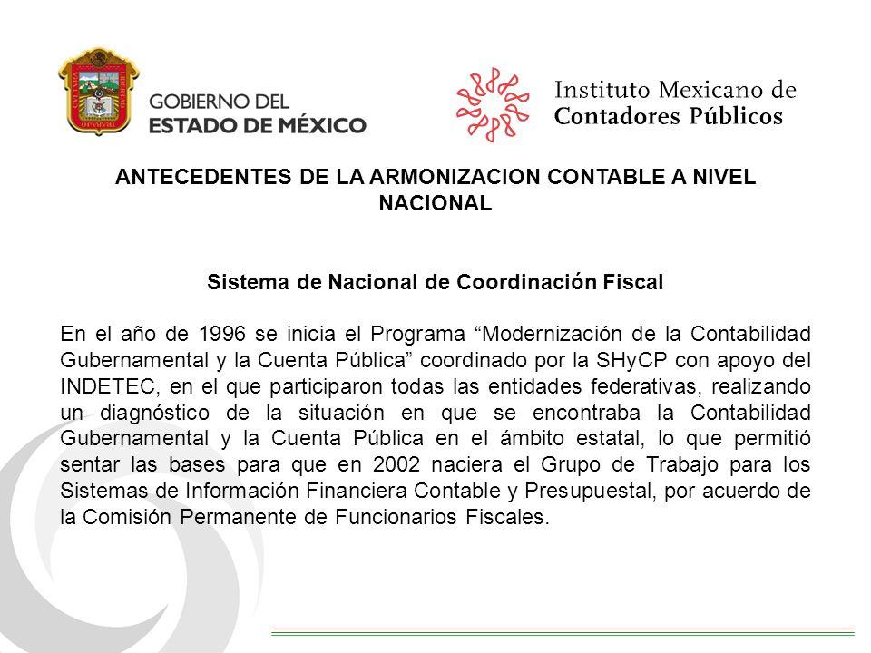 ANTECEDENTES DE LA ARMONIZACION CONTABLE A NIVEL NACIONAL Sistema de Nacional de Coordinación Fiscal En el año de 1996 se inicia el Programa Moderniza