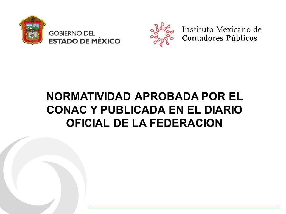NORMATIVIDAD APROBADA POR EL CONAC Y PUBLICADA EN EL DIARIO OFICIAL DE LA FEDERACION