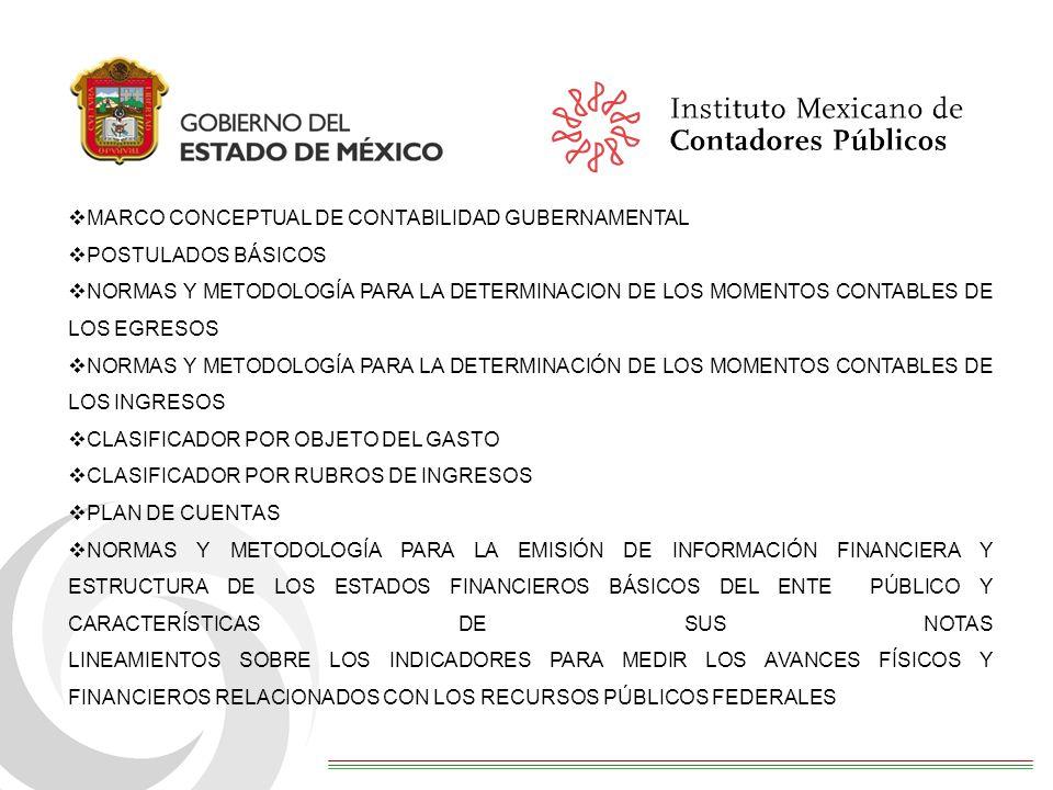 MARCO CONCEPTUAL DE CONTABILIDAD GUBERNAMENTAL POSTULADOS BÁSICOS NORMAS Y METODOLOGÍA PARA LA DETERMINACION DE LOS MOMENTOS CONTABLES DE LOS EGRESOS NORMAS Y METODOLOGÍA PARA LA DETERMINACIÓN DE LOS MOMENTOS CONTABLES DE LOS INGRESOS CLASIFICADOR POR OBJETO DEL GASTO CLASIFICADOR POR RUBROS DE INGRESOS PLAN DE CUENTAS NORMAS Y METODOLOGÍA PARA LA EMISIÓN DE INFORMACIÓN FINANCIERA Y ESTRUCTURA DE LOS ESTADOS FINANCIEROS BÁSICOS DEL ENTE PÚBLICO Y CARACTERÍSTICAS DE SUS NOTAS LINEAMIENTOS SOBRE LOS INDICADORES PARA MEDIR LOS AVANCES FÍSICOS Y FINANCIEROS RELACIONADOS CON LOS RECURSOS PÚBLICOS FEDERALES