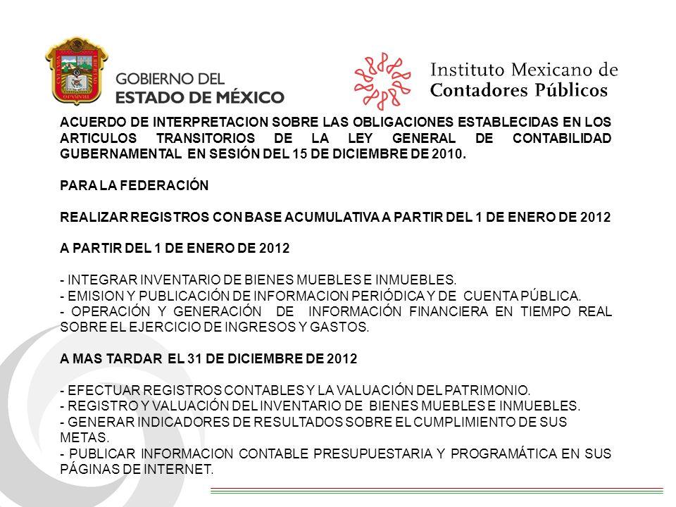 ACUERDO DE INTERPRETACION SOBRE LAS OBLIGACIONES ESTABLECIDAS EN LOS ARTICULOS TRANSITORIOS DE LA LEY GENERAL DE CONTABILIDAD GUBERNAMENTAL EN SESIÓN DEL 15 DE DICIEMBRE DE 2010.