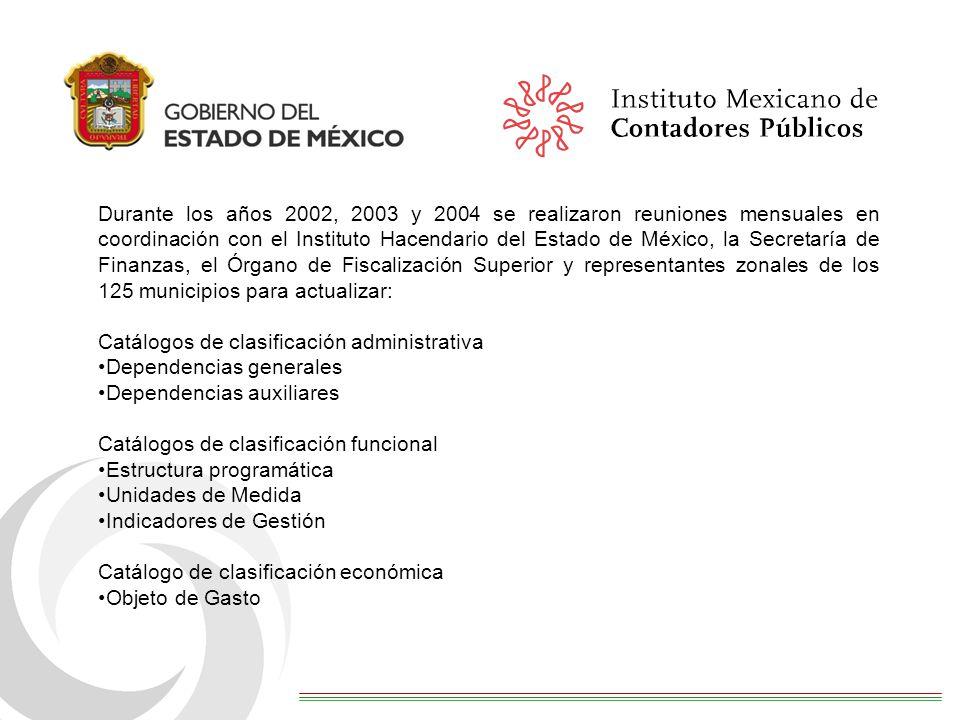 Durante los años 2002, 2003 y 2004 se realizaron reuniones mensuales en coordinación con el Instituto Hacendario del Estado de México, la Secretaría d