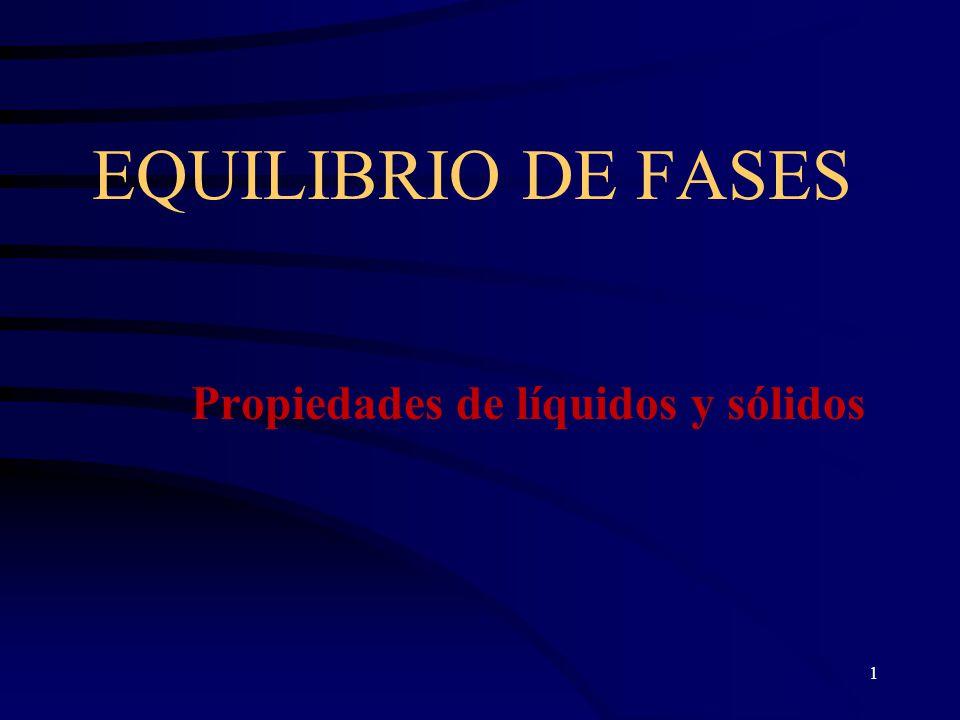 1 EQUILIBRIO DE FASES Propiedades de líquidos y sólidos