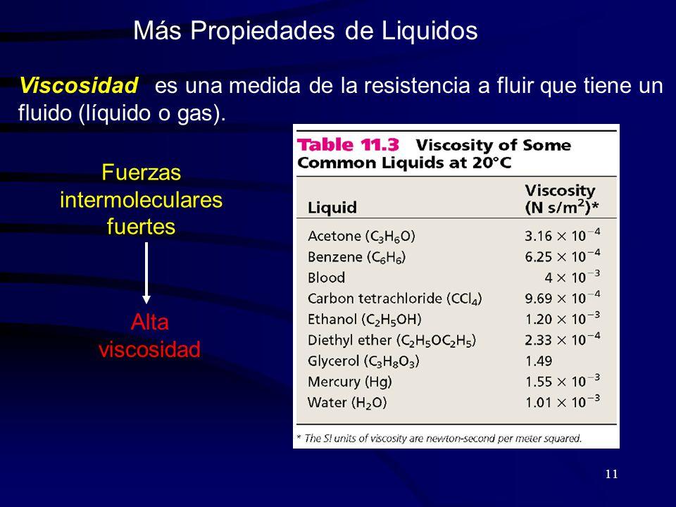 11 Más Propiedades de Liquidos Viscosidad es una medida de la resistencia a fluir que tiene un fluido (líquido o gas).