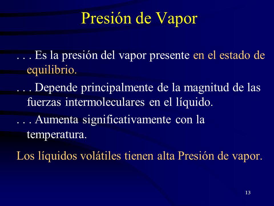 13 Presión de Vapor...Es la presión del vapor presente en el estado de equilibrio....