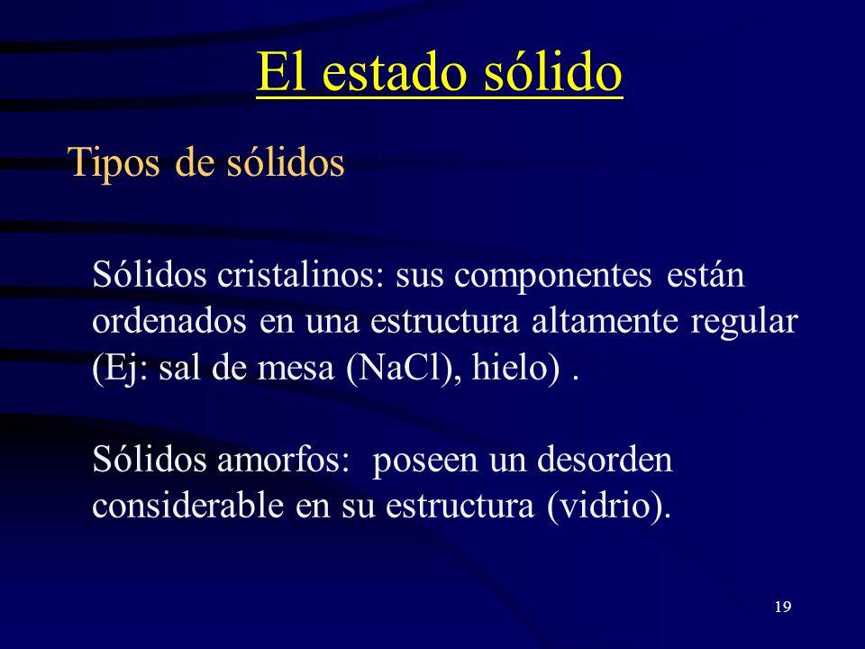 19 El estado sólido Sólidos cristalinos: sus componentes están ordenados en una estructura altamente regular (Ej: sal de mesa (NaCl), hielo).
