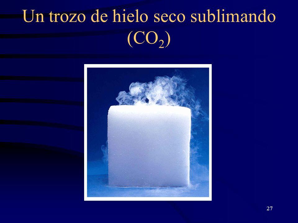 27 Un trozo de hielo seco sublimando (CO 2 )