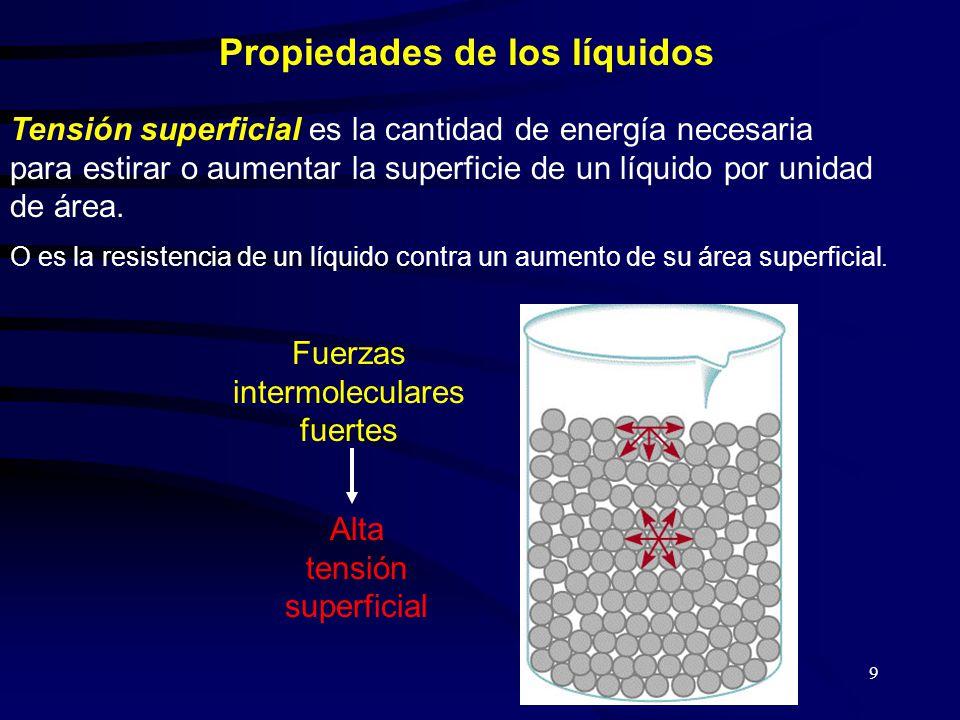 9 Propiedades de los líquidos Tensión superficial es la cantidad de energía necesaria para estirar o aumentar la superficie de un líquido por unidad de área.