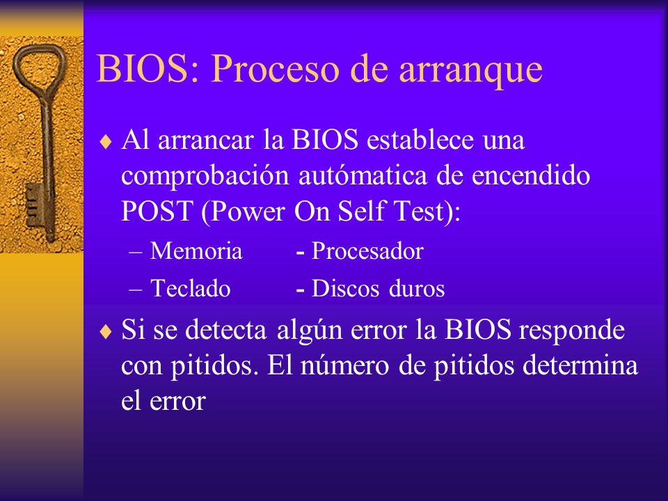 BIOS: Proceso de arranque Al arrancar la BIOS establece una comprobación autómatica de encendido POST (Power On Self Test): –Memoria- Procesador –Tecl