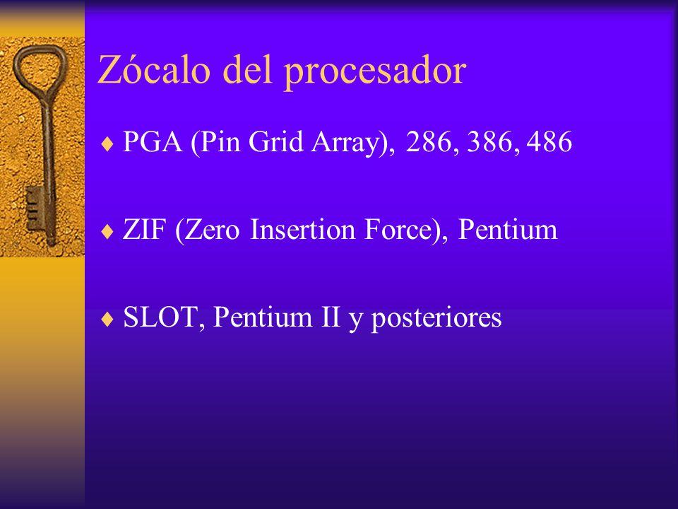 Zócalo del procesador PGA (Pin Grid Array), 286, 386, 486 ZIF (Zero Insertion Force), Pentium SLOT, Pentium II y posteriores